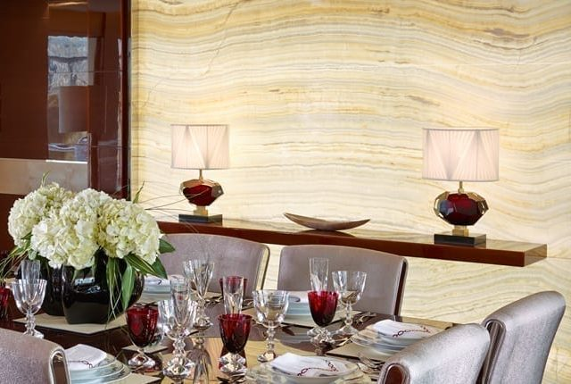 white ivory onyx backlit feature wall image