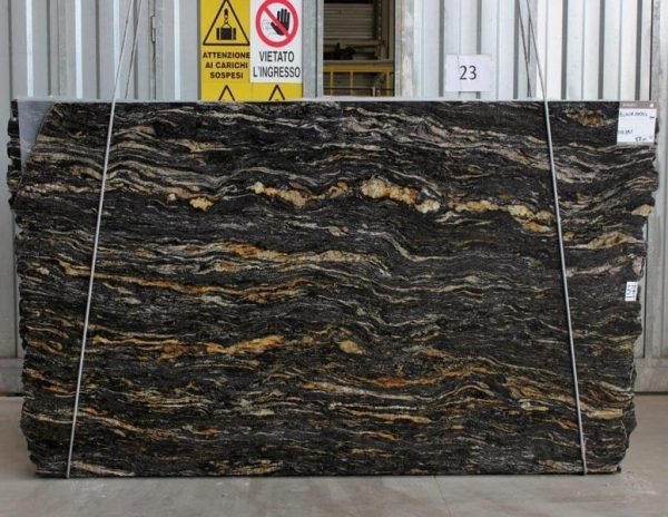 slab of black cosmic stone from grama blend uk