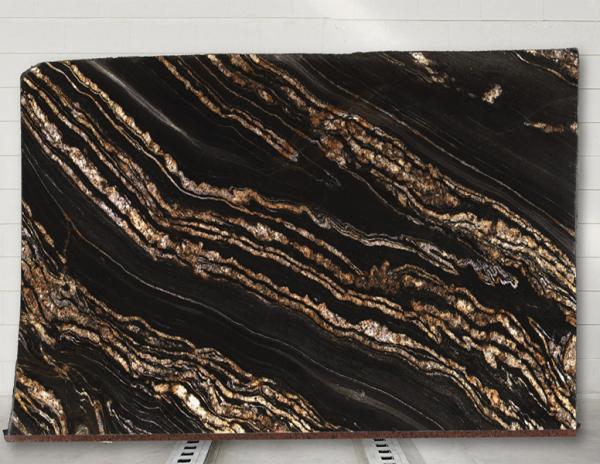 shot of black fusion granite slab from grama blend uk